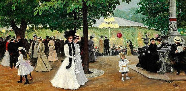 Maleri af Paul Fischer. Den Røde Ballon, Sommeraften i Tivoli, 1901.jpg